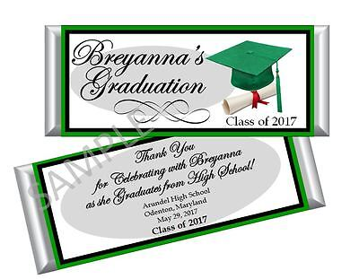 College Graduation Party Favors (Graduation Green Candy Bar Wrappers/ Party Favors - High School/College - Set)