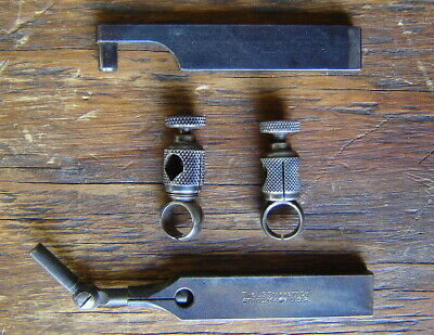 Vintage 4-pc Starrett Last Word Indicator Accessory Parts Lot Clamps Bars
