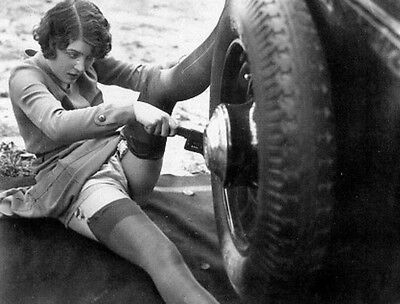 Antique Tire Change Girl Photo 97 Bizarre Odd Strange 5 x 7