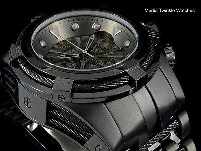 NEW Invicta 52MM Bolt ZEUS COMBAT BLACK Swiss Quartz All Black Bracelet Watch