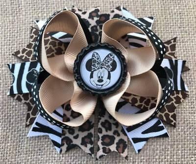 Animal Print Hair Bow - Minnie Tan Brown Black Animal Print Bottle Cap Hair Bow 5