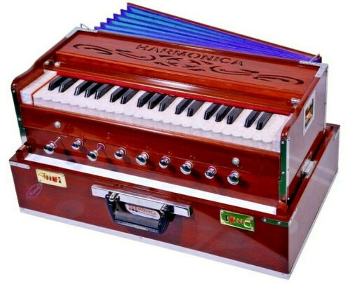 Portable 3.5 Octave 9 Stopper Laying Style Harmonium Baja And Coupler Wood Brown