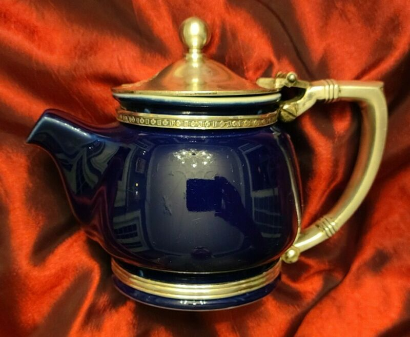 The Fontainebleau Hotel Cobalt Porcelain & Silver Teapot by Intl Silver Circa 54