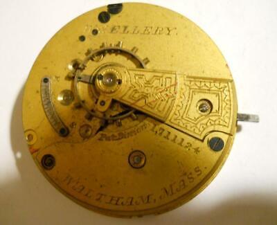 18s Waltham Wm. Ellery 11 Jewels Model 1879 Pocket Watch Movement For Parts