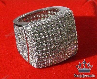 14K WHITE GOLD 3.00CT MENS CLEAR DIAMOND ENGAGEMENT WEDDING PINKY RING BAND