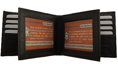 Genuine Leather Mens Slim Bifold 3 ID's multi Card Double Center Flap Wallet New