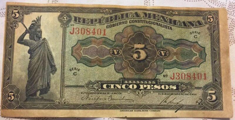 Mexico 5 Pesos Note