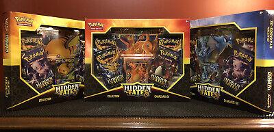 Pokemon Hidden Fates GX Collection Box Set Of 3- Charizard Gyrados Raichu