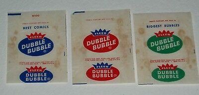 1960's Fleer DUBBLE BUBBLE Bubble Gum wrappers
