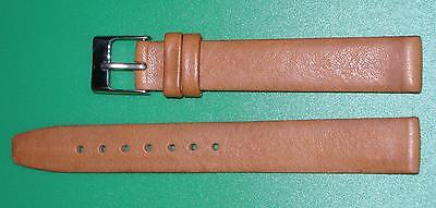 17mm Men's Flat Watch  Band/Strap in Brown Genuine Leather Gold Buckle
