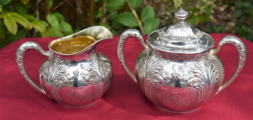Sterling Sugar and Creamer Set - Very Early Wallace & Sons - Monogram
