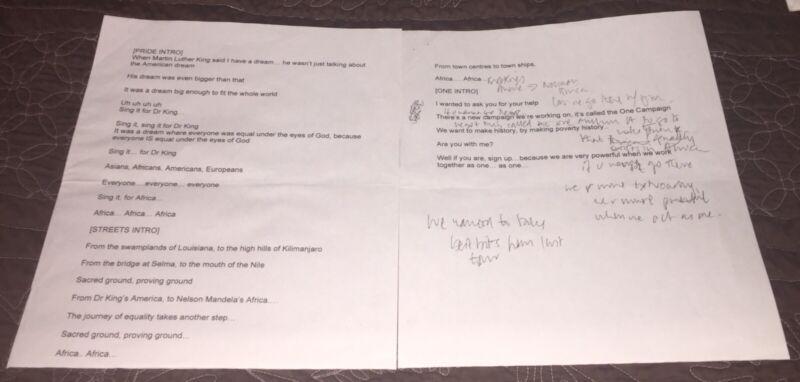 U2 Bono Handwritten Lyrics Setlist HISTORIC Super RARE Beckett Authentic BAS