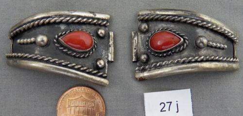 Vintage Navajo Coral & Sterling Watch Bracelet Tips or Ends