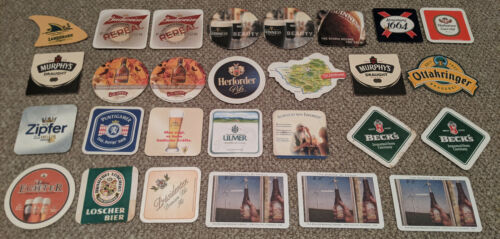 Lot of 28 Beer Coasters - Assorted German, Irish, American Beers