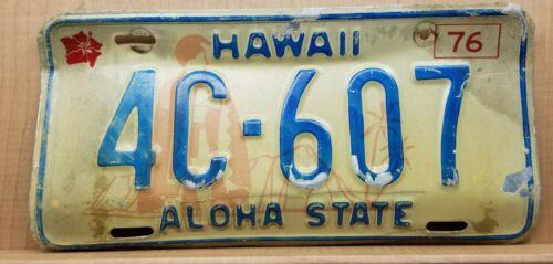1976 Hawaii License Plate Hibiscus King Kamehameha Diamond Head 4C-607 HONOLULU