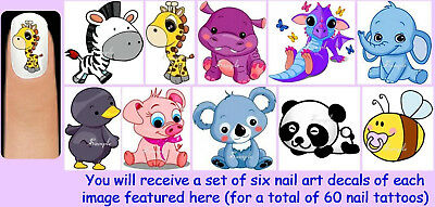 60x BABY ANIMALS Nail Art Decals + Free Gems Babies Panda Zebra Giraffe Dragon ()