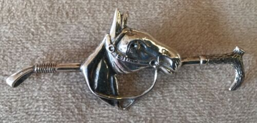 Crop and Horse Head Sterling Silver Pin Stockpin