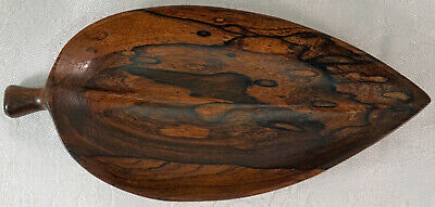 Hand Carved Wooden Leaf Shaped Bowl or Pin Tray Lovely Dark Pattern to Wood
