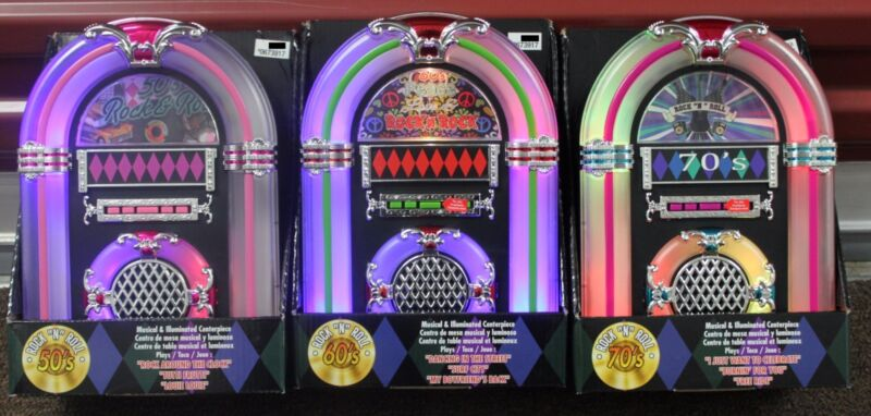 3-SET 50s 60s 70s CLASSIC ROCK TABLETOP JUKEBOXES Roll Musical Collectible NEW