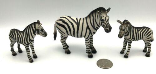 Schleich Lot ZEBRA MARE & 2 Foals Baby Adult 1998 Retired Animal Figures 14148