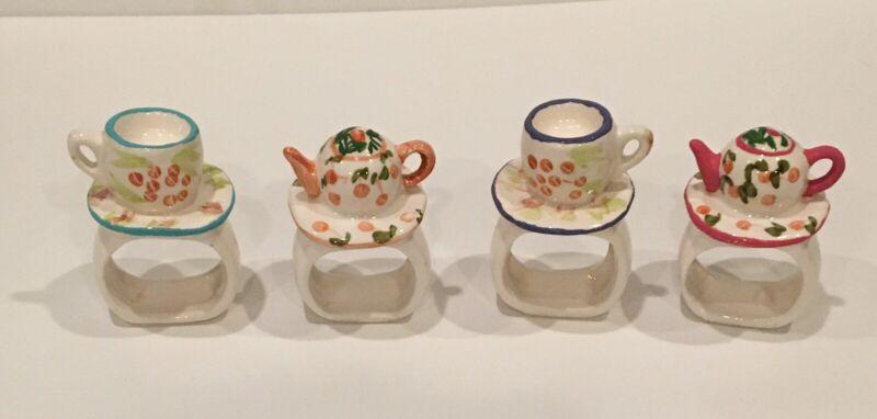 Set Of 4 Teacup & Saucer / Tea Pot Napkin Rings Whimsical