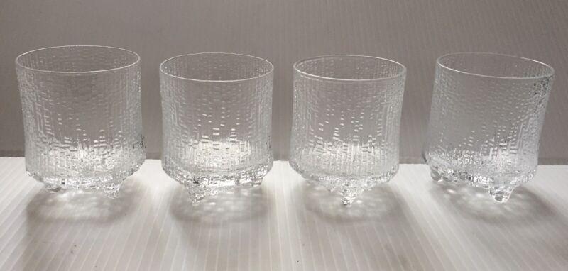 "Set of 4 Iittala Finland Ultima Thule Tapio Wirkkala Rocks Glasses 3 1/2"""