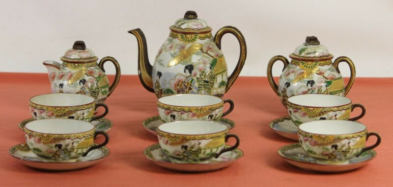 COFFEE SET PORCELAIN CHINA. 6 SERVINGS. GLAZED WITH RELIEF. TWENTIETH CENTURY.