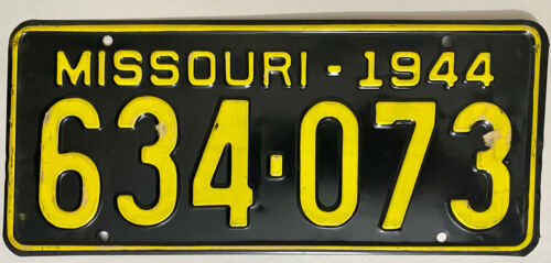 1944 MISSOURI License Plate -  MO #634-073