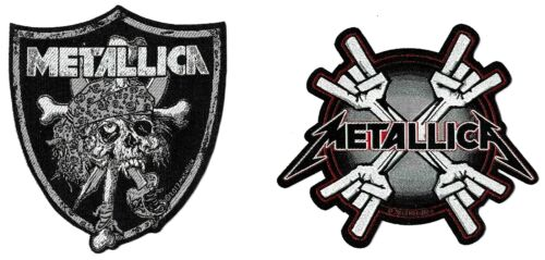 Metallica Raider Skull + Metal Horn Coffin Patch Lot [UK Import] Die-Cut Patches