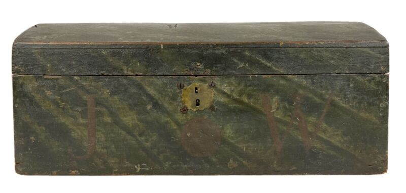 Antique 19th C. American Folk Art AAFA Green Painted Dome Top Wood Box w/ Eagle