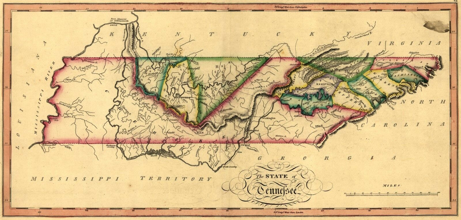 Details about A4 Reprint of American Cities Towns States Map Kentucky  Tennessee