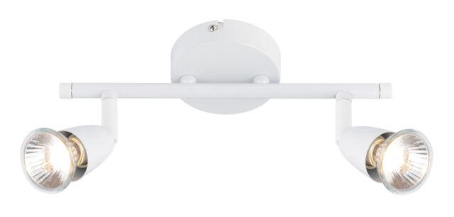 Saxby 43282 AMALFI Gloss White Twin Halogen Spot Ceiling Light/Adjustable