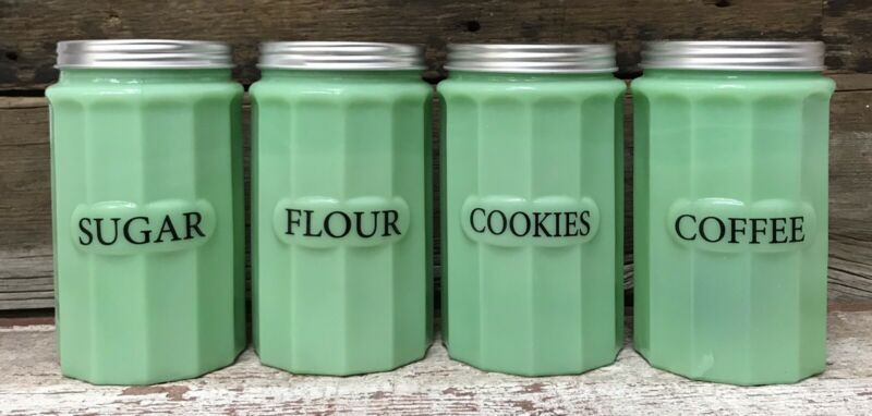 Set of (4) Jadeite Green Milk Glass Canisters: SUGAR, FLOUR, COOKIES, COFFEE
