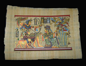 Egyptian-Papyrus-genuine-hand-painted-King-Tut-hunting-with-lion-43x33cm