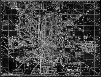 Historic 1899 Indianapolis Indiana biking driving MAP black reverse art print