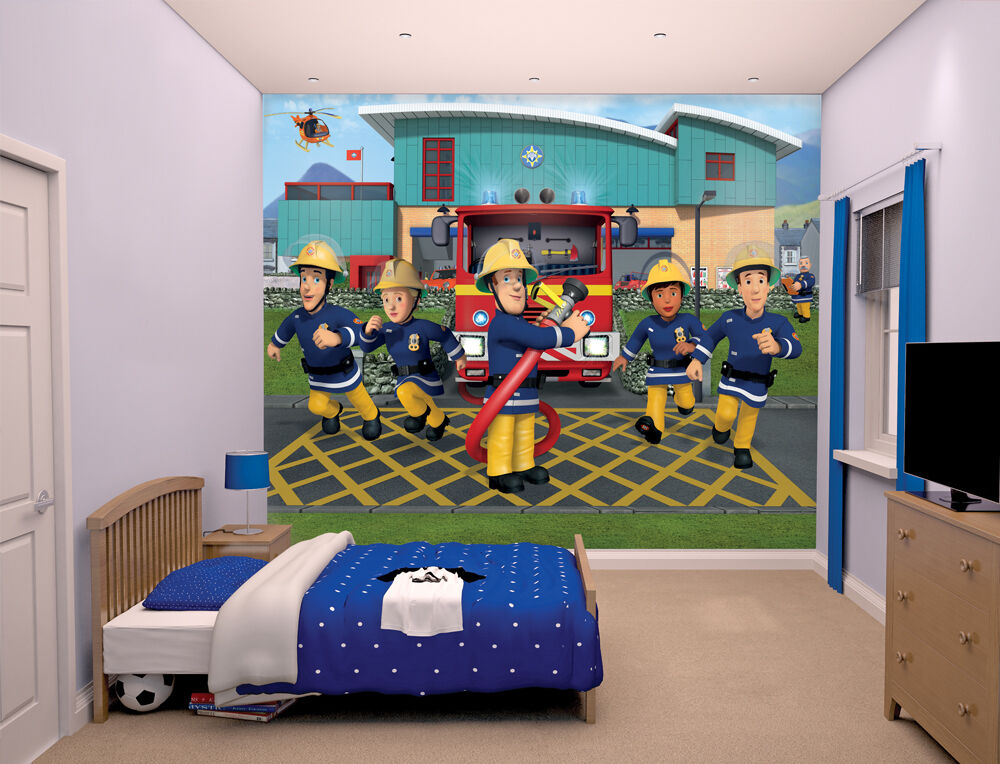 fireman sam walltastic wallpaper mural for kids bedrooms. Black Bedroom Furniture Sets. Home Design Ideas