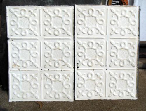 SALE 2 Antique Ceiling Tin Tile Fleur De Li Flower Elegant Pie Cupboard Doors