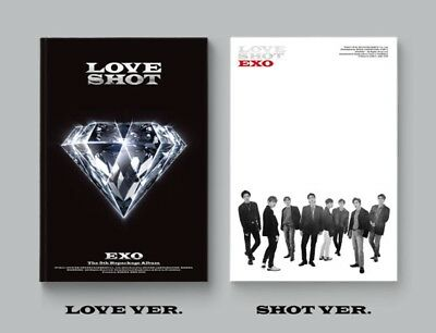 K-POP EXO 5th Repackage Album [LOVE SHOT] 2Ver SET CD+72p Photobook+Photocard