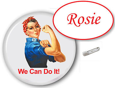 1 ROSIE RIVETER NAME BADGE PIN & BUTTON PIN HALLOWEEN COSTUME FREE SHIPPING](Rosie Riveter Halloween Costume)