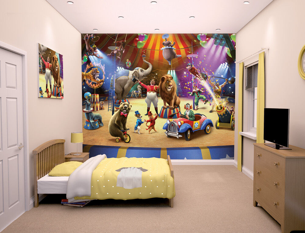 The circus walltastic wallpaper mural for kids bedrooms ebay for Children mural wallpaper