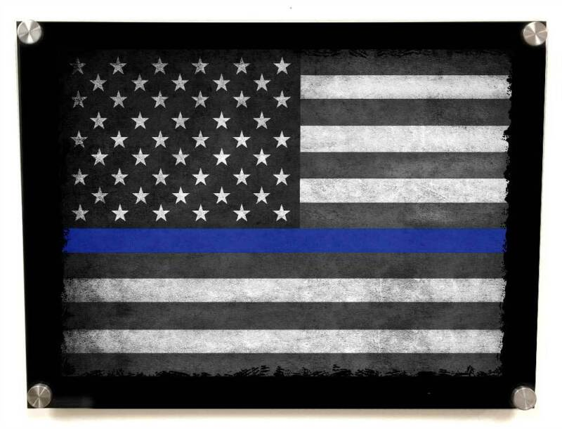 Thin Blue Line Flag Law Enforcement  Police Sheriff Metal Wall Art Decor