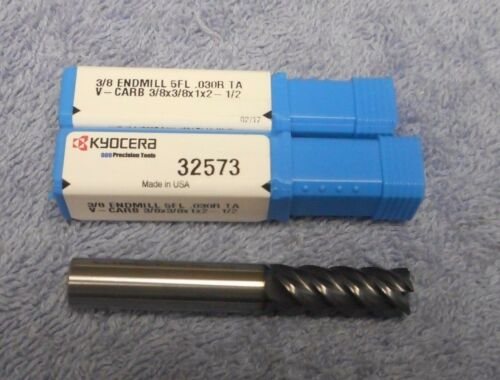"KYOCERA    CARBIDE  END MILL   3/8""      5 FLUTE     .030R    V-CARB    #32573"