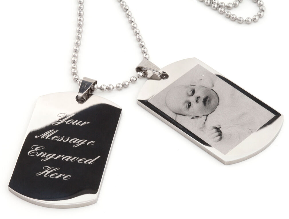 Personalised men's ENGRAVED double dog tags - text & photo e