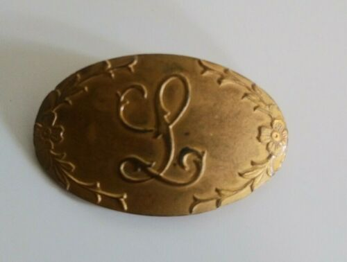 """Vintage Genuine Silver Brooch Pin """"L"""" Monogram Letter Hand Forged Jewelry"""