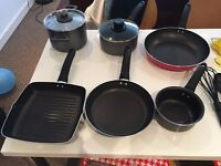 Cook and dinnerware for sale: pots and pans, glasses, cutlery and utensils