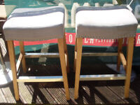 FOUR EXTREMELY COMFORTABLE TALL WOODEN PUB STOOLS - 68CM - MICROPUB, PUB, HOME BAR, MAN CAVE, SPORTS