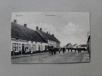 Belgien Zevecote De Noordstraat gel 1916 Brigade Stempel Kriegslazarett Feldpost