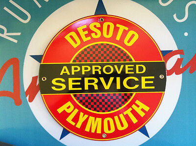 DESOTO - PLYMOUTH SERVICE-  PORCELAIN COATED METAL SIGN - SHIPPING DISCOUNTS