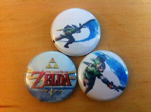 Set-of-3-LEGEND-OF-ZELDA-1-Pins-Buttons-Skyward-Sword-NINTENDO-NES-Wii-LINK