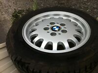 A set of  used rims and tires for BMW